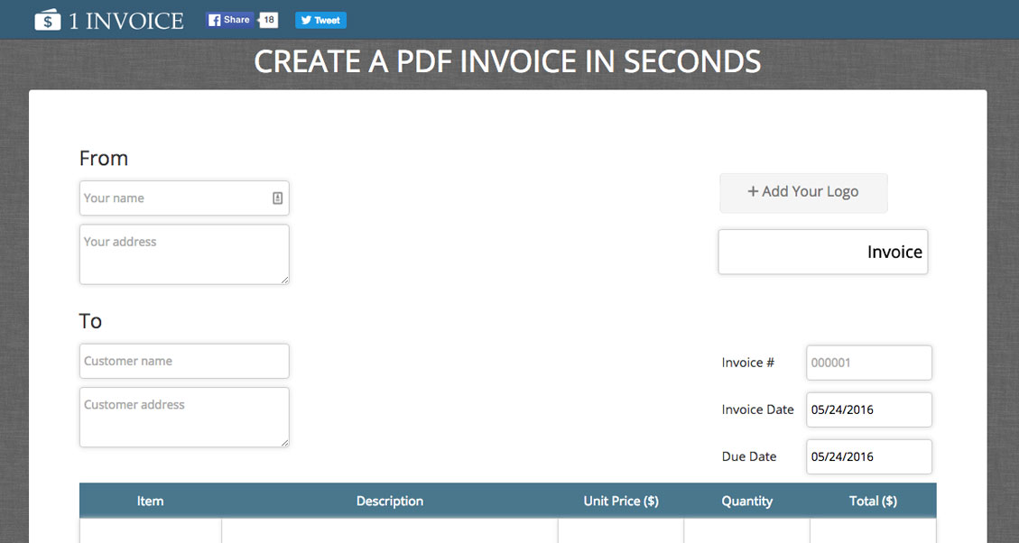downloadable pdf invoice
