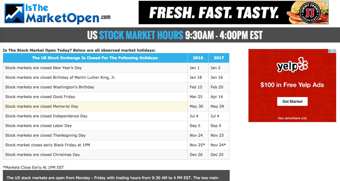 stock calendar
